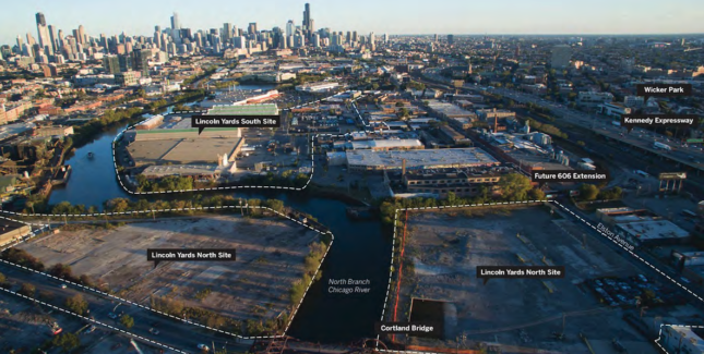 Aerial view of Lincoln Yards site