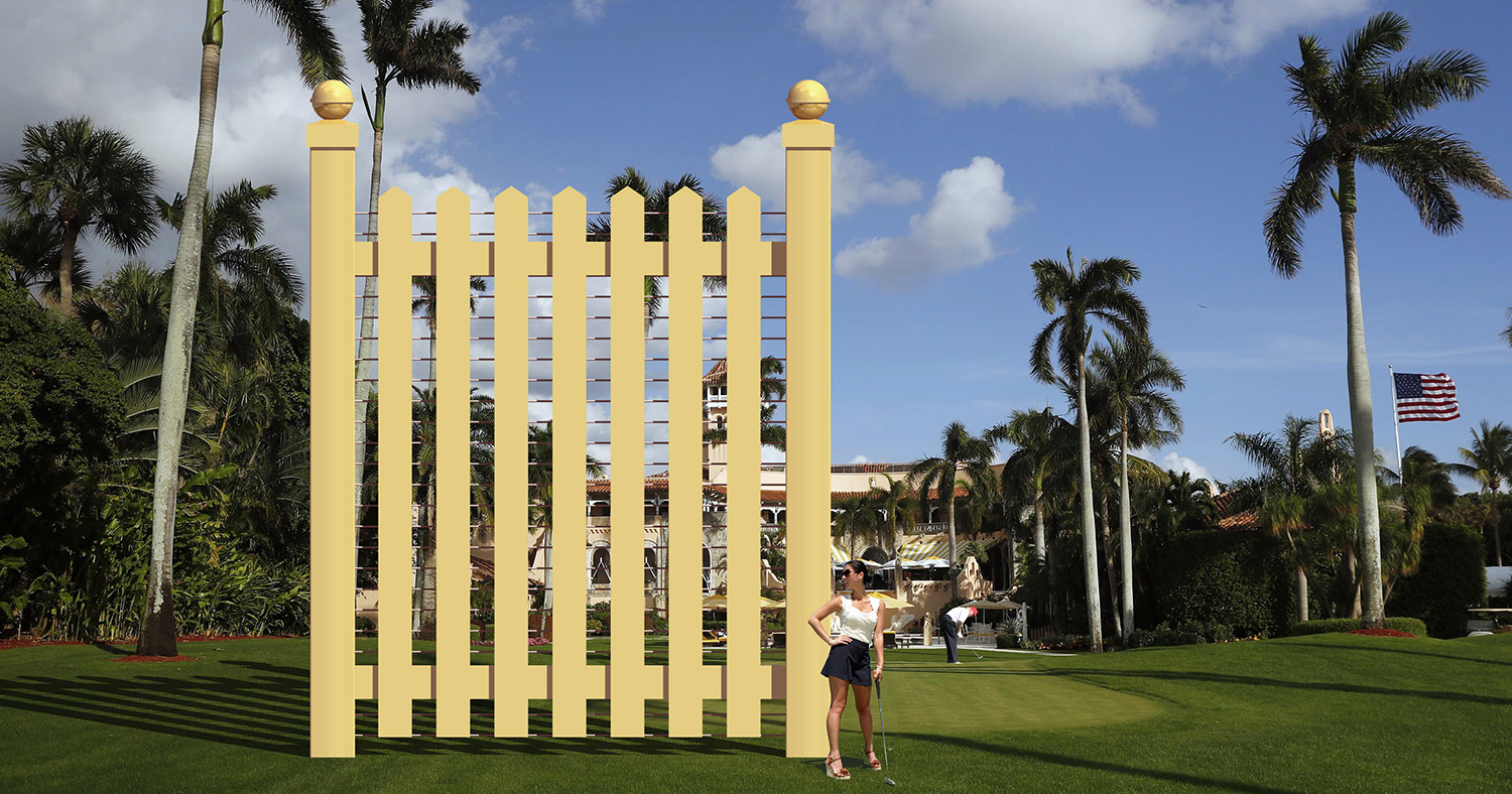 Rendering of a 30-foot-tall picket fence and golfer
