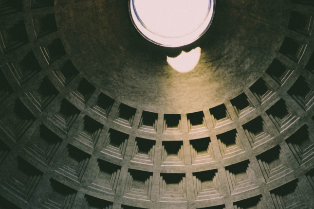 The dome of the Pantheon in Rome, still the largest free-standing concrete structure in the world.