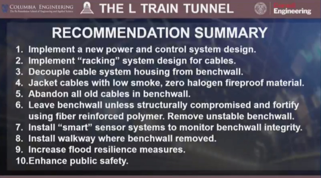 A summary of the proposed plan for renovating the L train tunnel.
