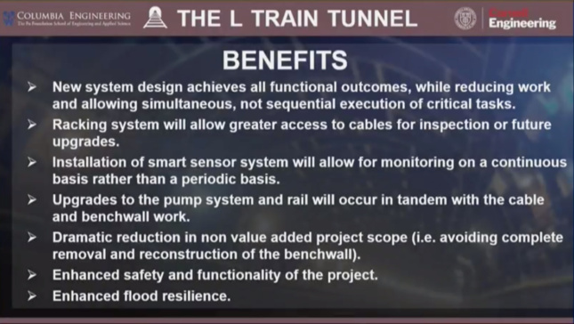 A slide touting the benefits of the new plan over a 15 month closure.