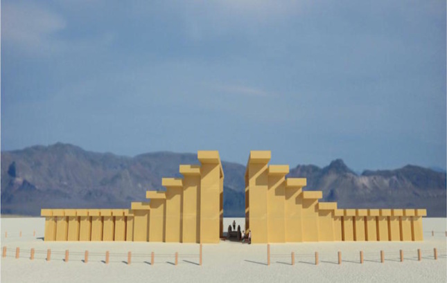 Rendering of the 2019 Burning Man temple