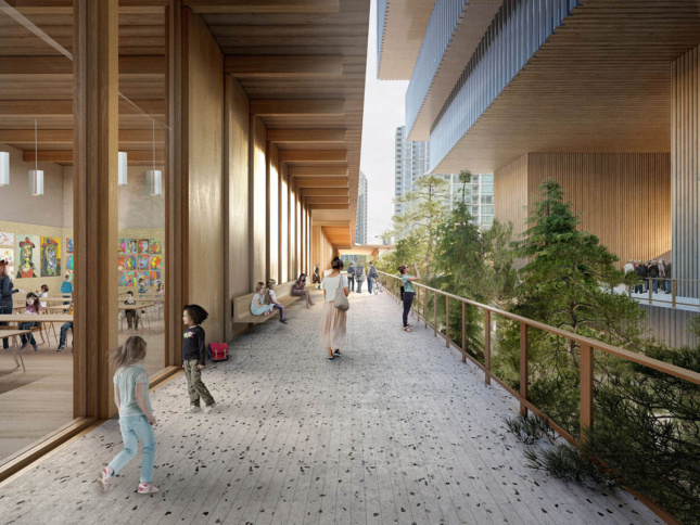 Rendering of a timber plaza