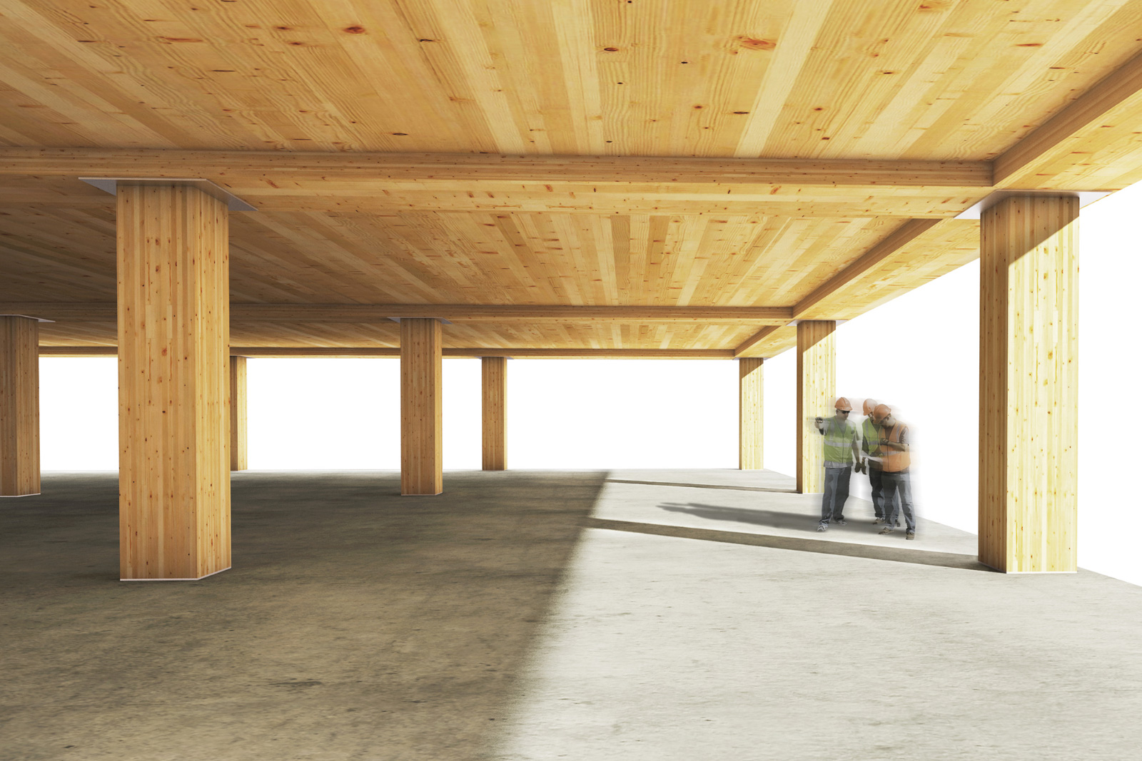 Rendering of a timber construction site