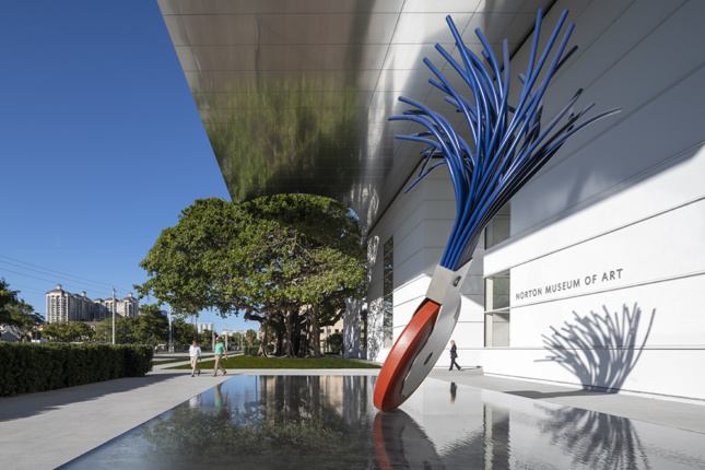 Photo of the entrance to the renovated Norton Museum of Art