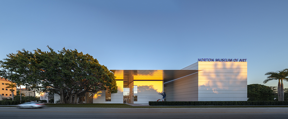 Photo of the exterior of the renovated Norton Museum of Art