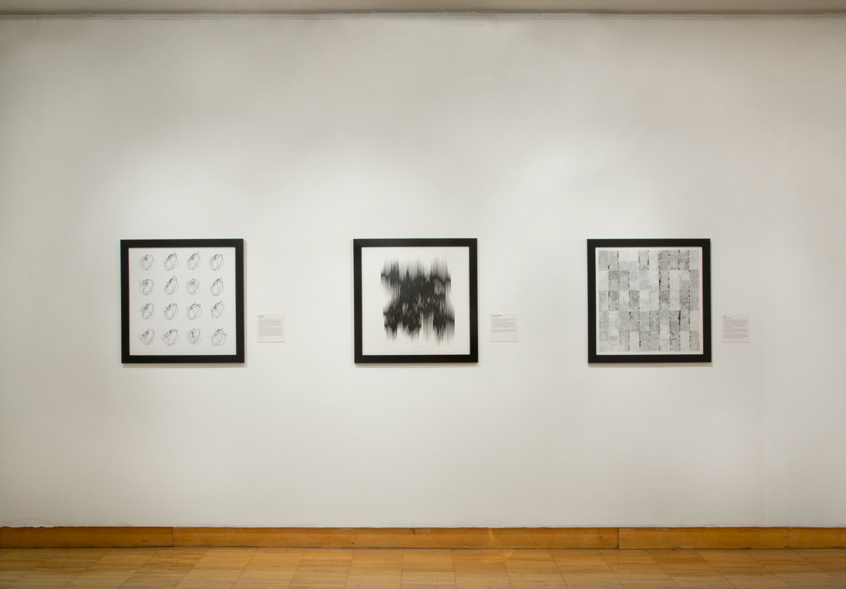 Photo of Drawing Codes exhibition showing drawings on the wall