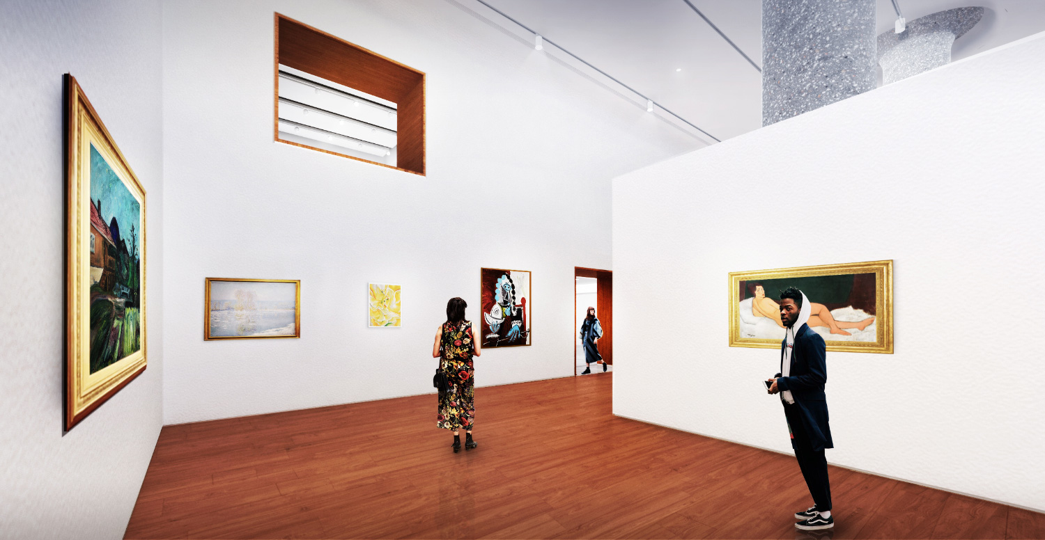 Rendering of a two-story gallery space