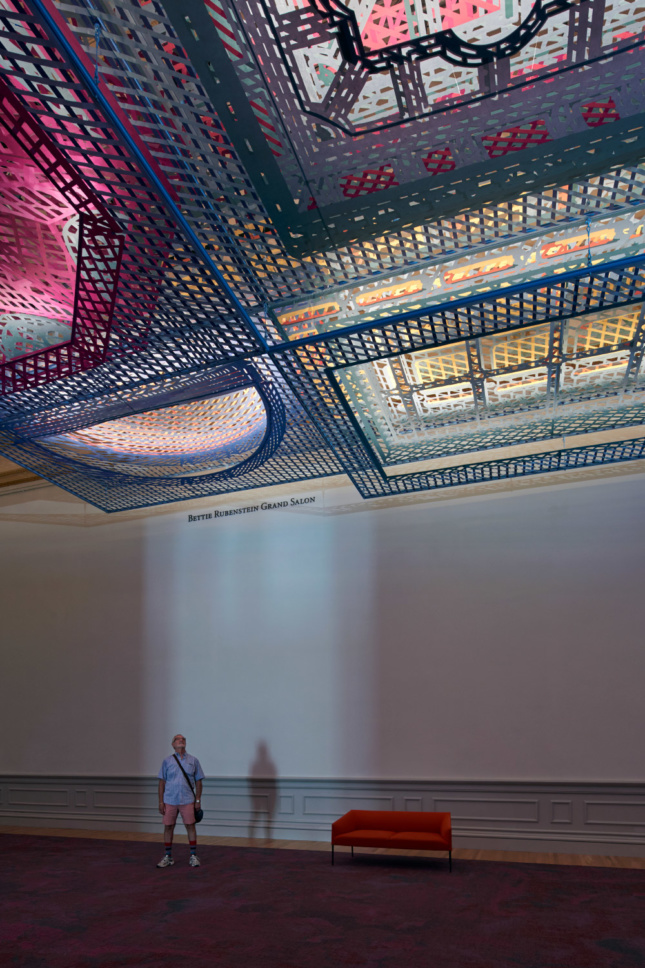 Photo of a colorful ceiling installation