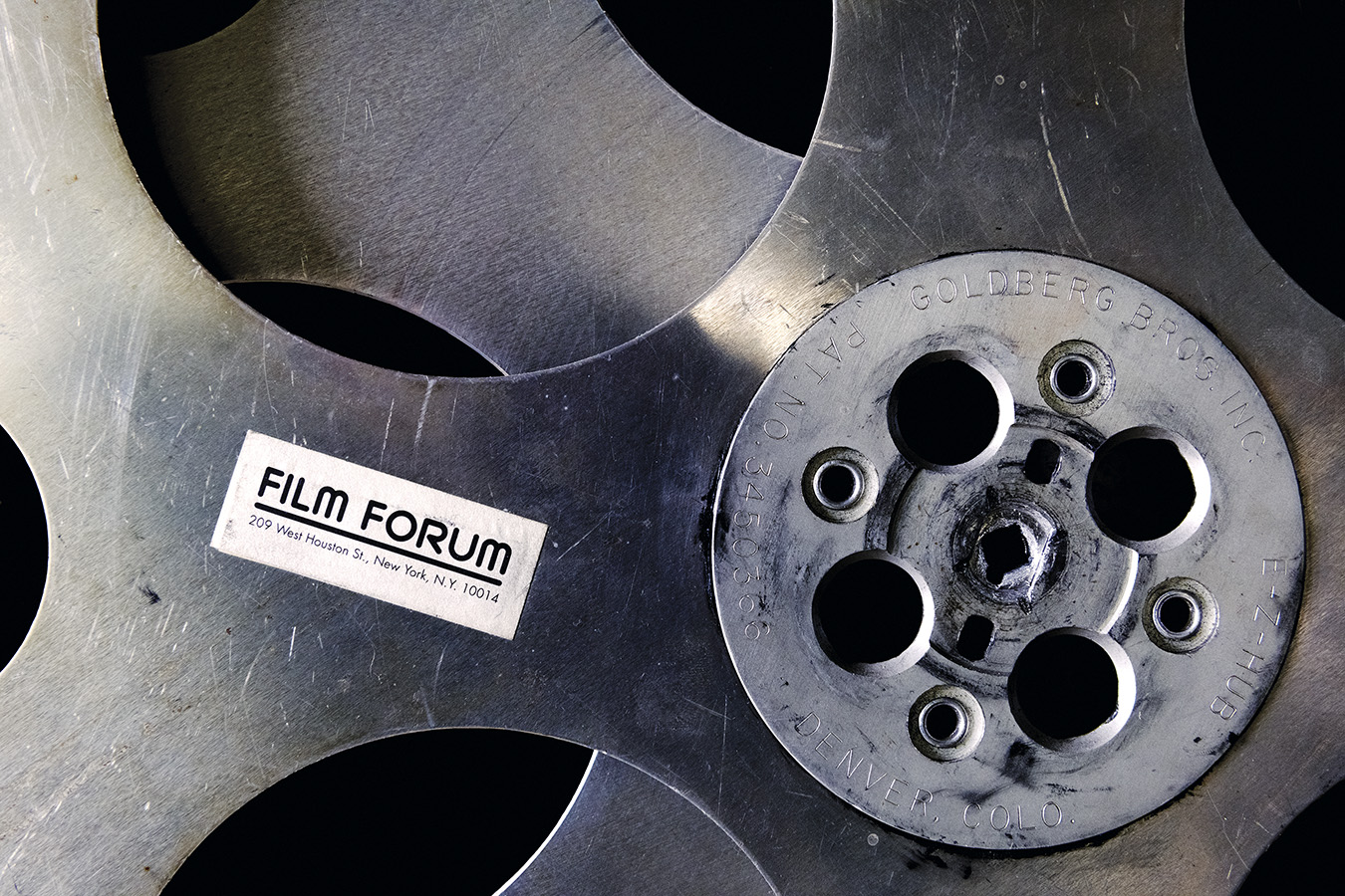 Photo of a steel film reel