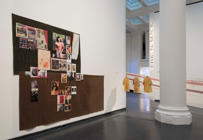 Photo of textile-based artworks in the Brooklyn Museum