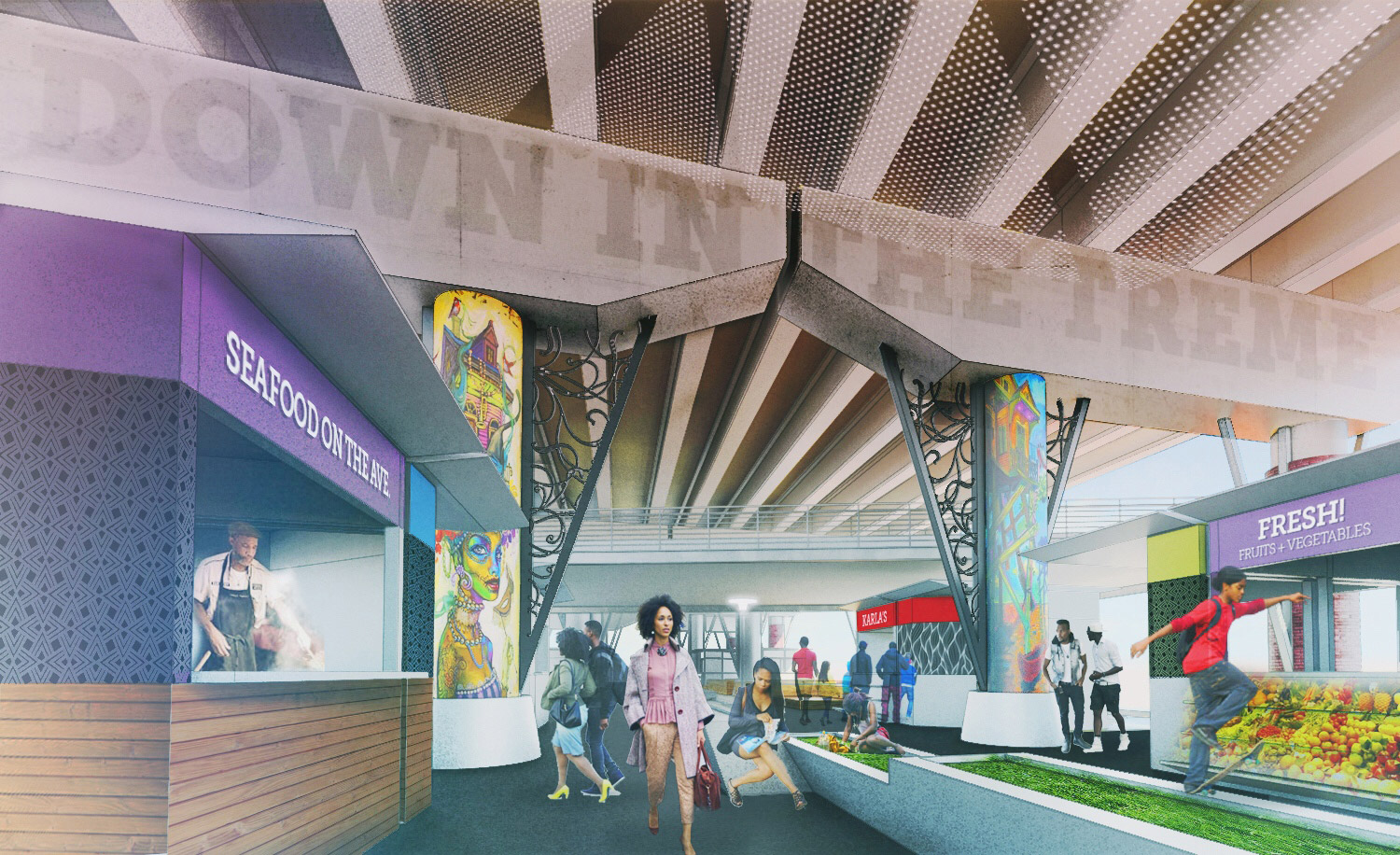 Rendering of a vibrant underpass