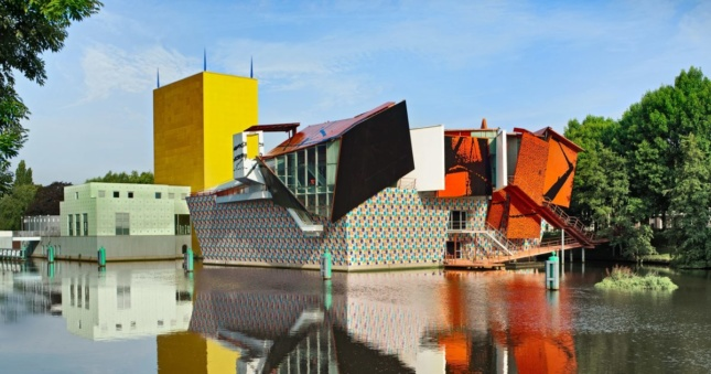 Photo of a multicolored museum on the waterfront