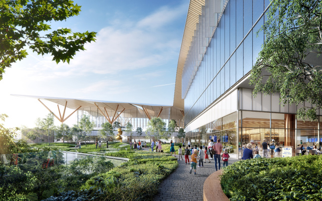 Exterior rendering of Pittsburgh International Airport outdoor plaza