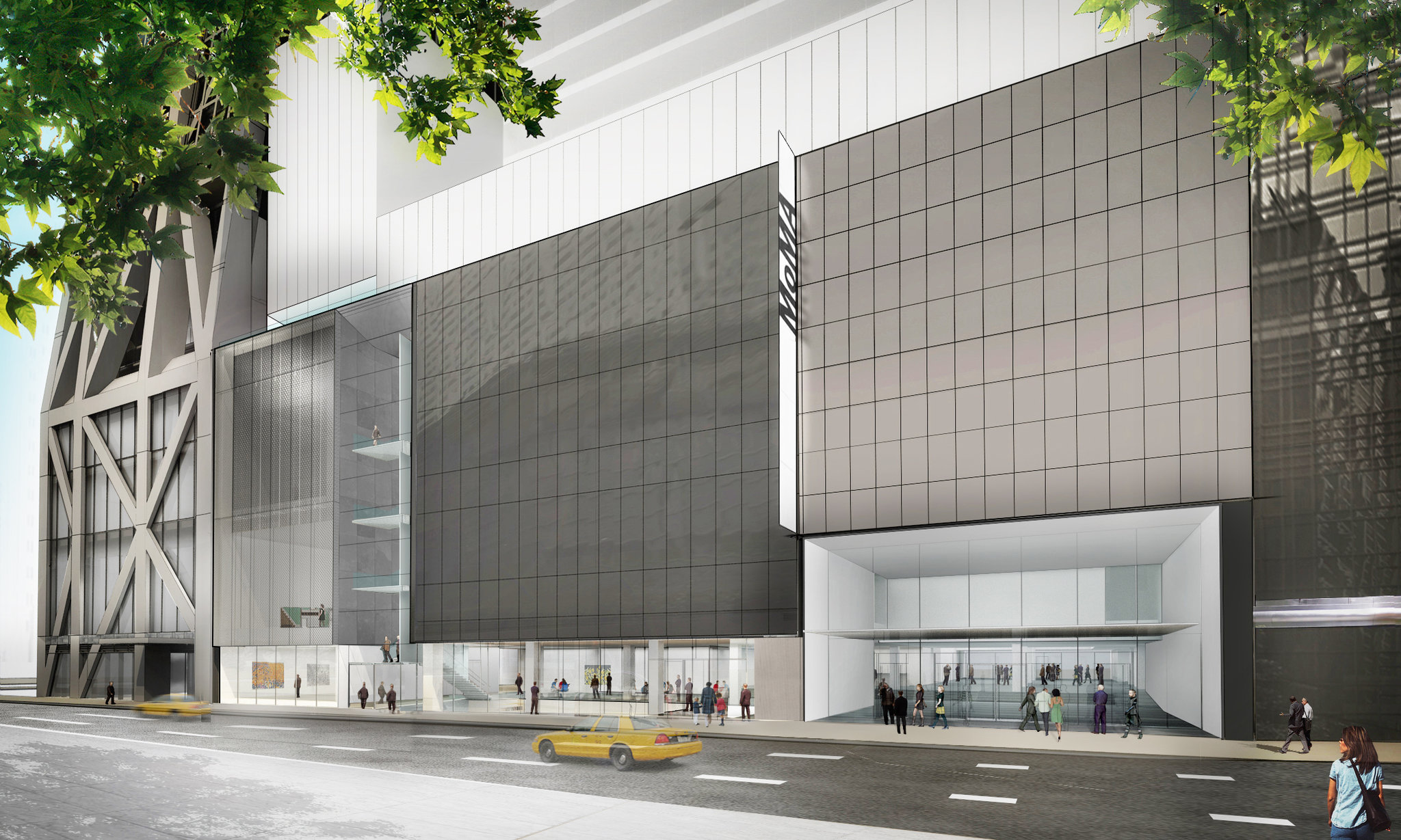 Rendering of a solid museum entrance