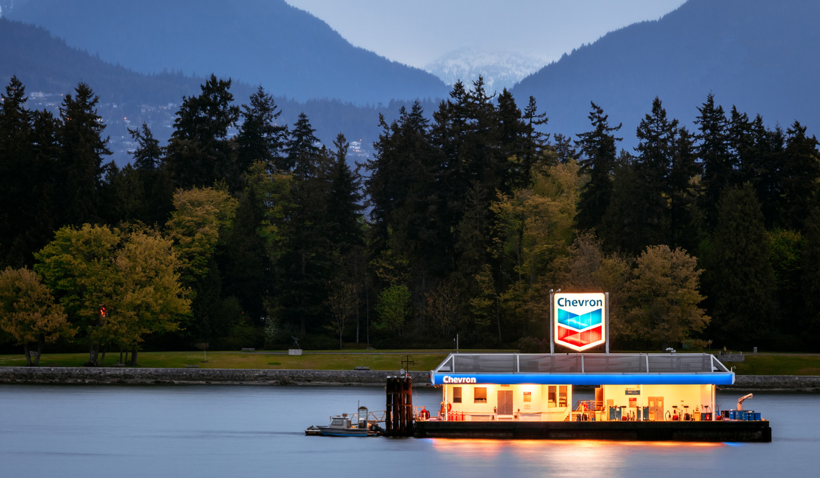 Photo of a gas station floating in a river