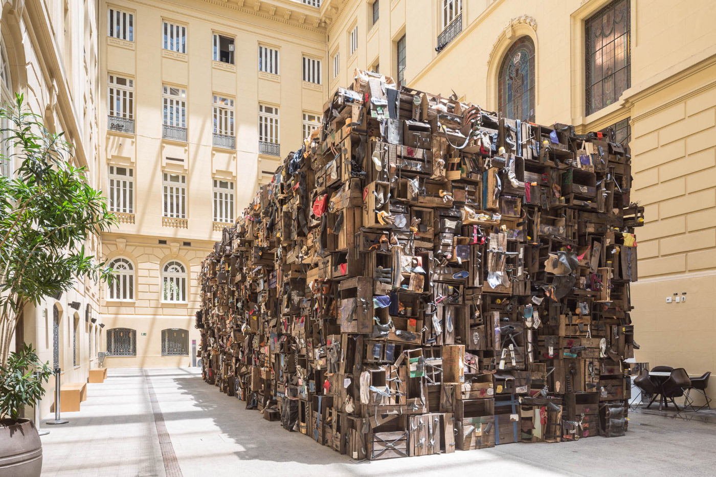 An art object made of crates