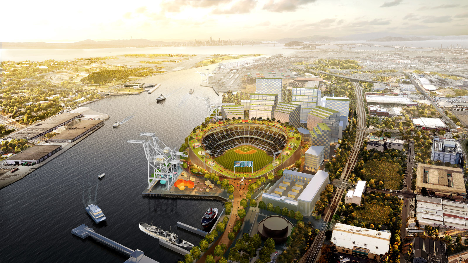 Rendering of a waterfront ballpark