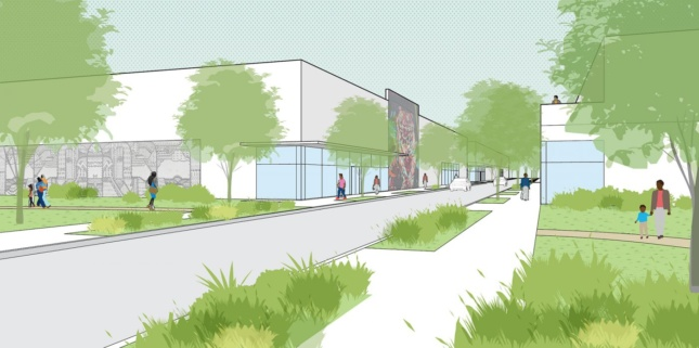 Rendering of a street with two-story buildings and green space on either side