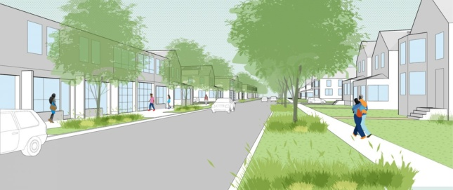 Rendering of a street with a sidewalk, buildings on either side, and trees