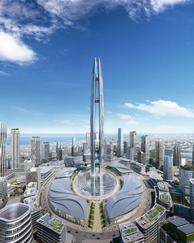 Rendering of a tower and mixed-use complex