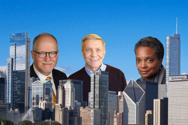 Photo of Paul Vallas, Robert Fioretti, and Lori Lightfoot collaged into the Chicago skyline