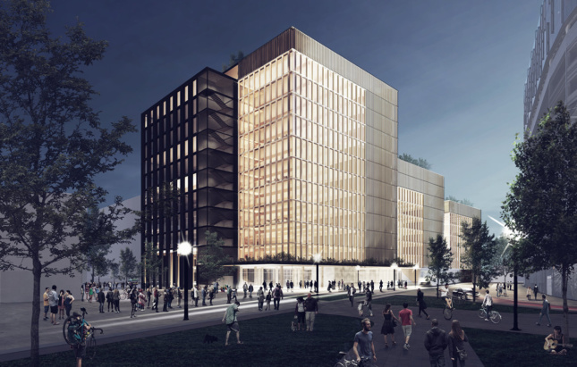 Rendering of Michael Green solid wood building for Riverfront Square