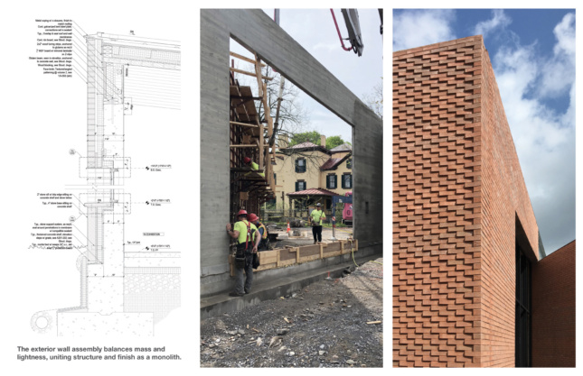 Section, construction photo, and finished brick wall