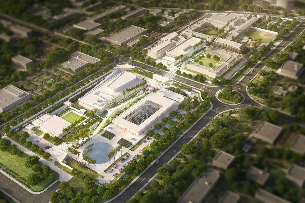 Aerial rendering of Weiss/Manfredi US Embassy India