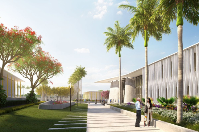 Rendering of Weiss/Manfredi US Embassy India