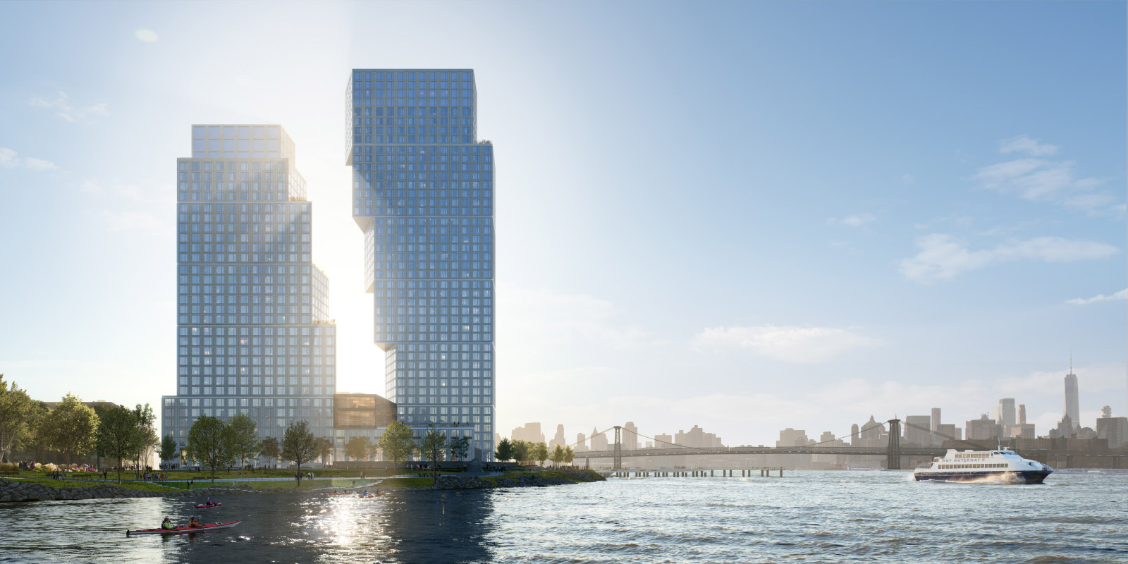 Rendering of two waterfront towers