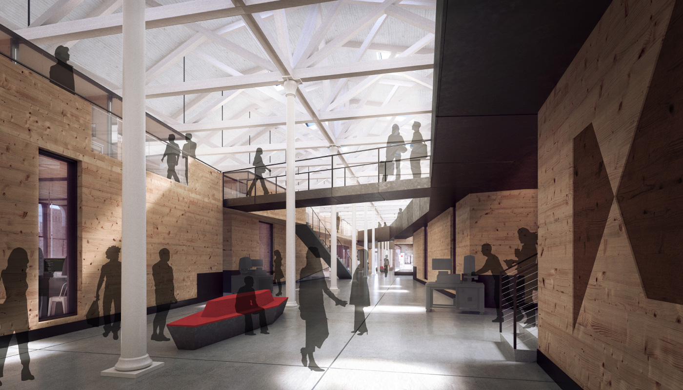 Rendering of the interior of a warehouse office space