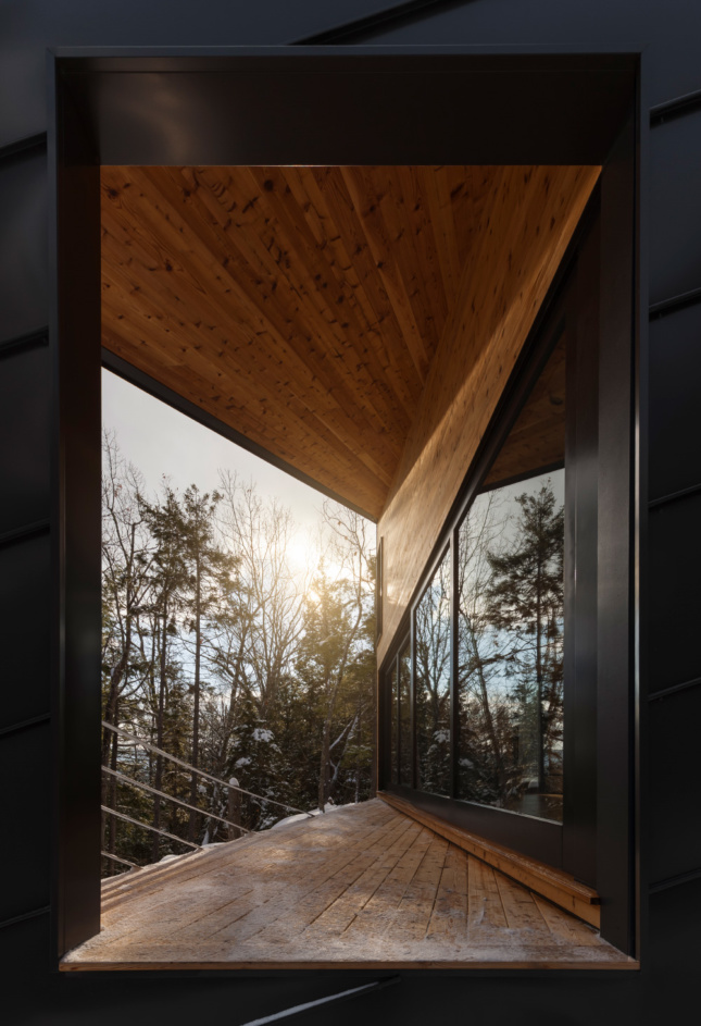 Photo of a timber deck looking out to a forest