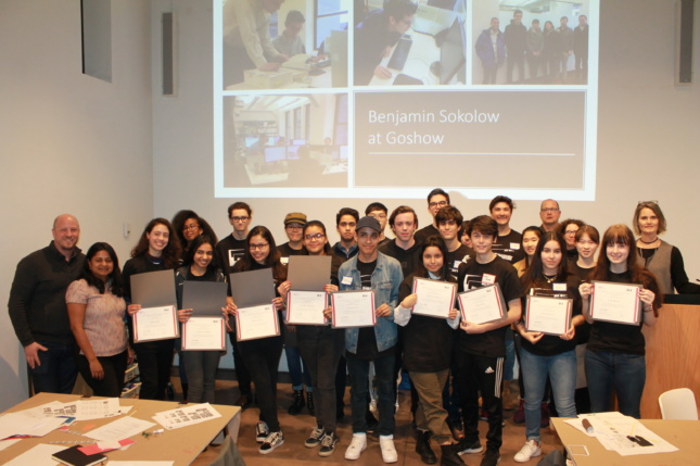 Photo of high school students displaying their certificates