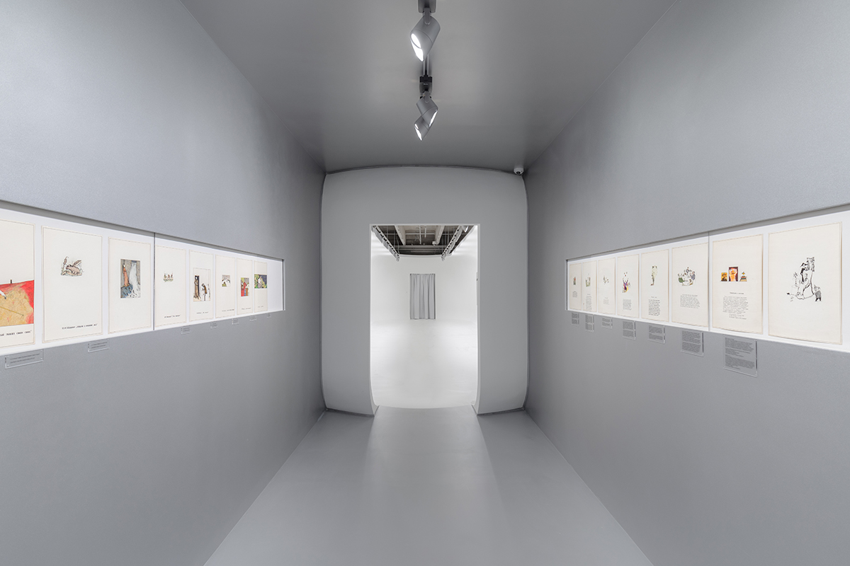 Photo of art installed in a gallery hallway