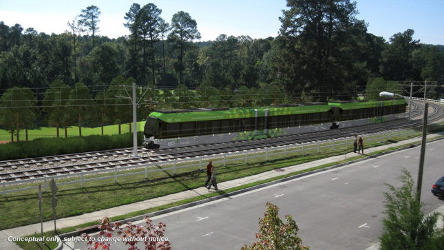 Rendering of a light rail route