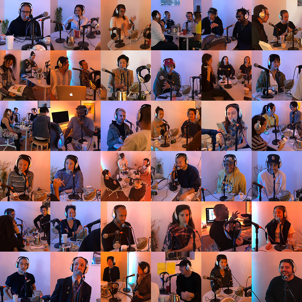 A collage of different people in front of microphones for a radio show