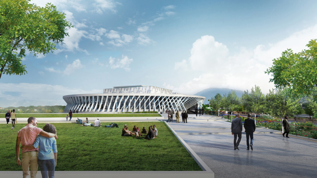 Rendering of round government building