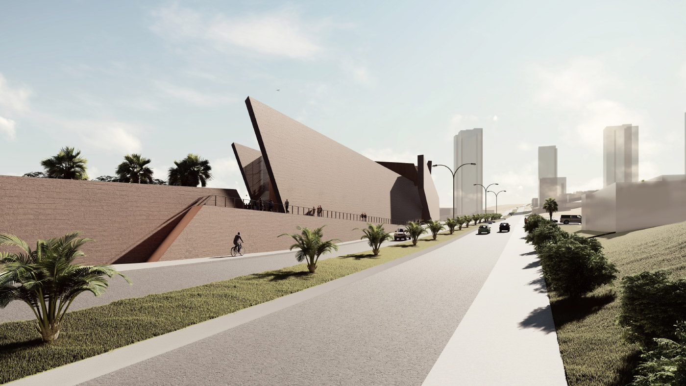 Rendering of a road and concrete panels