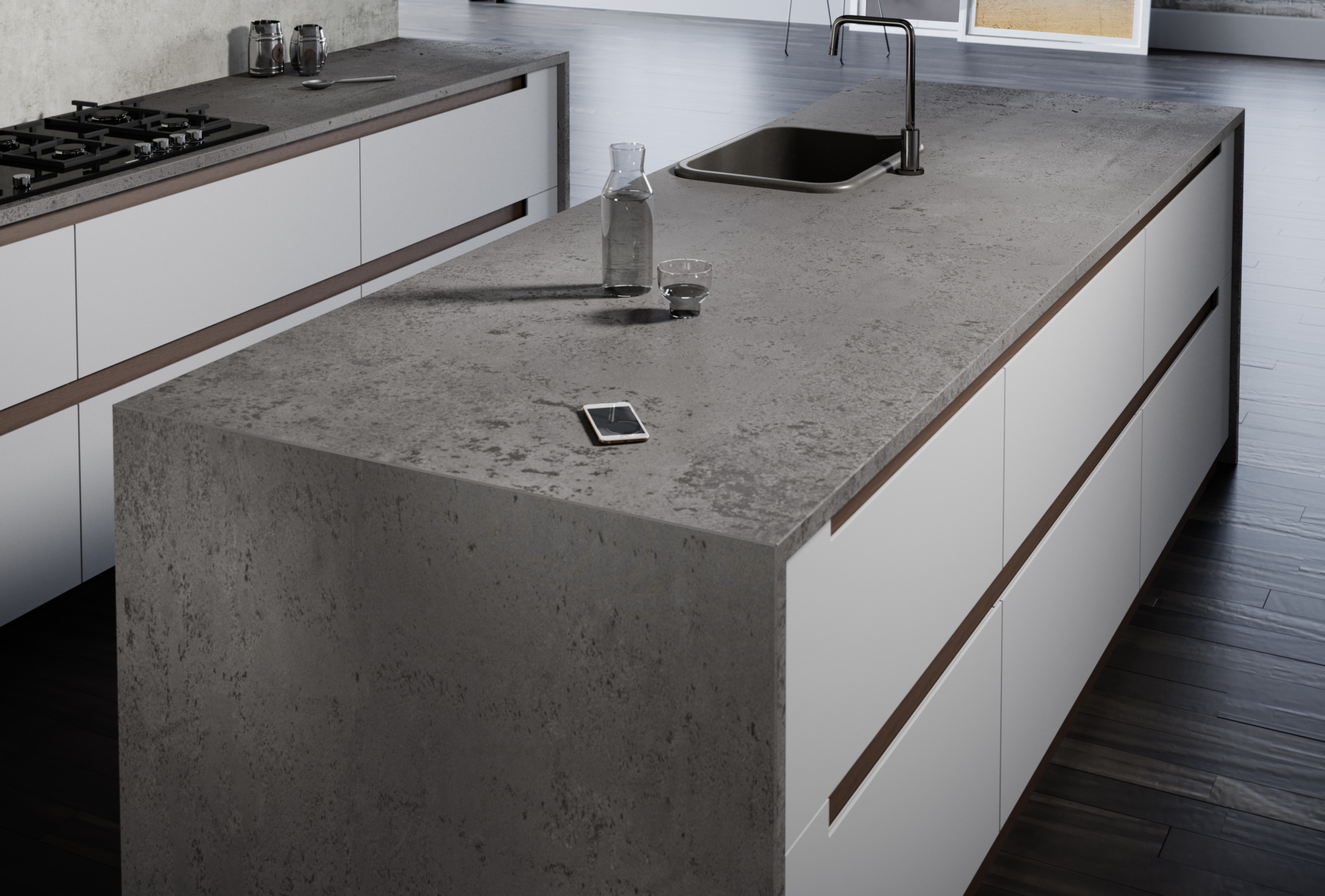 Rendering of a kitchen with Silestone Loft Cosentino