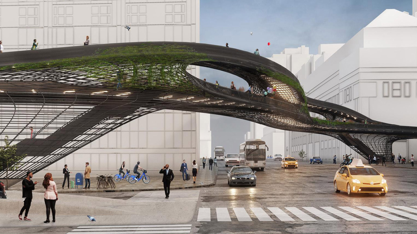 Rendering of a bridge over a street