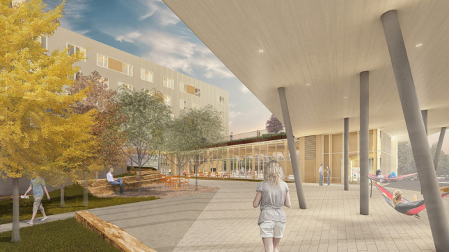 Rendering of plaza outside student dormitory at the University of Arkansas