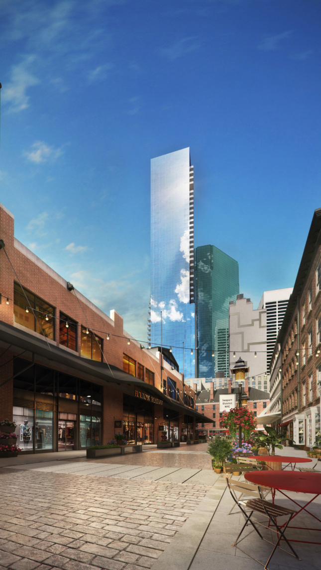 Rendering of a tall glass tower from the street