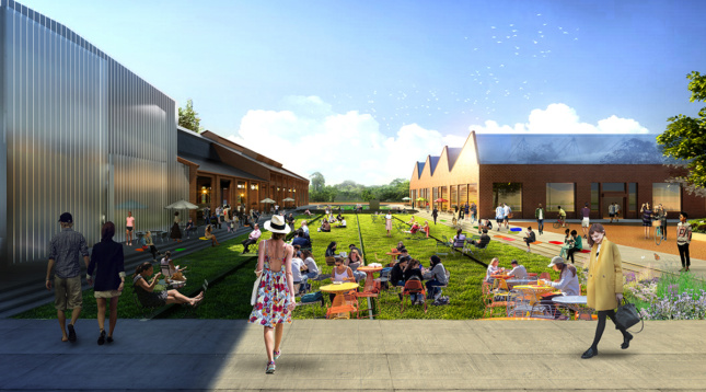 Close up rendering of Pullman Yard green space for picnicing