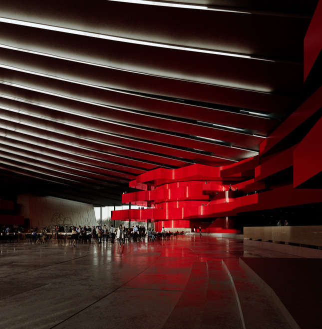 Rendering of a dark theater lobby with red walls