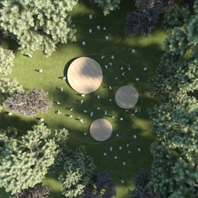 Aerial rendering of a public green space with three wooden discs