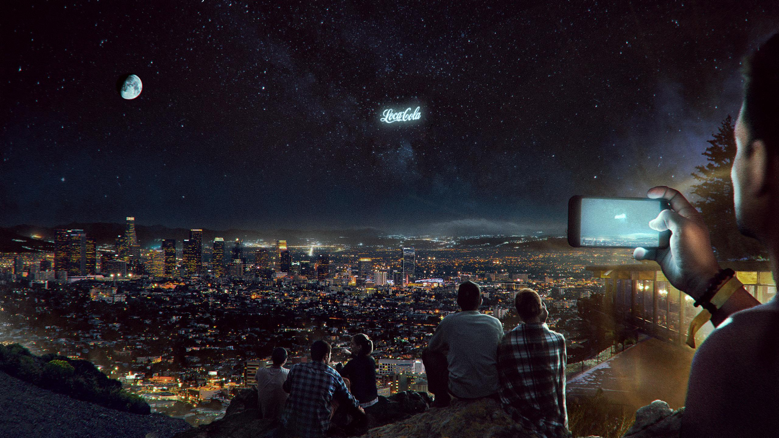 Rendering of a floating display above the horizon at night