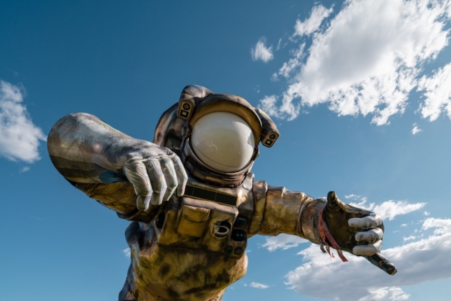 Photo of a floating astronaut sculpture
