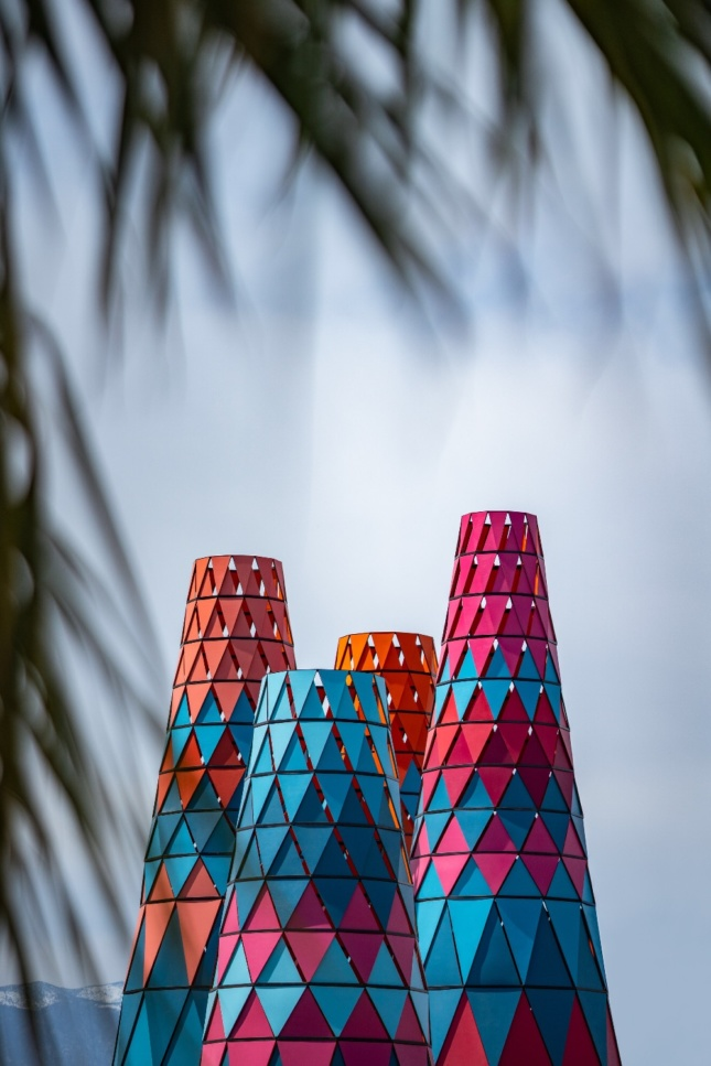 Photo of colored conical towers
