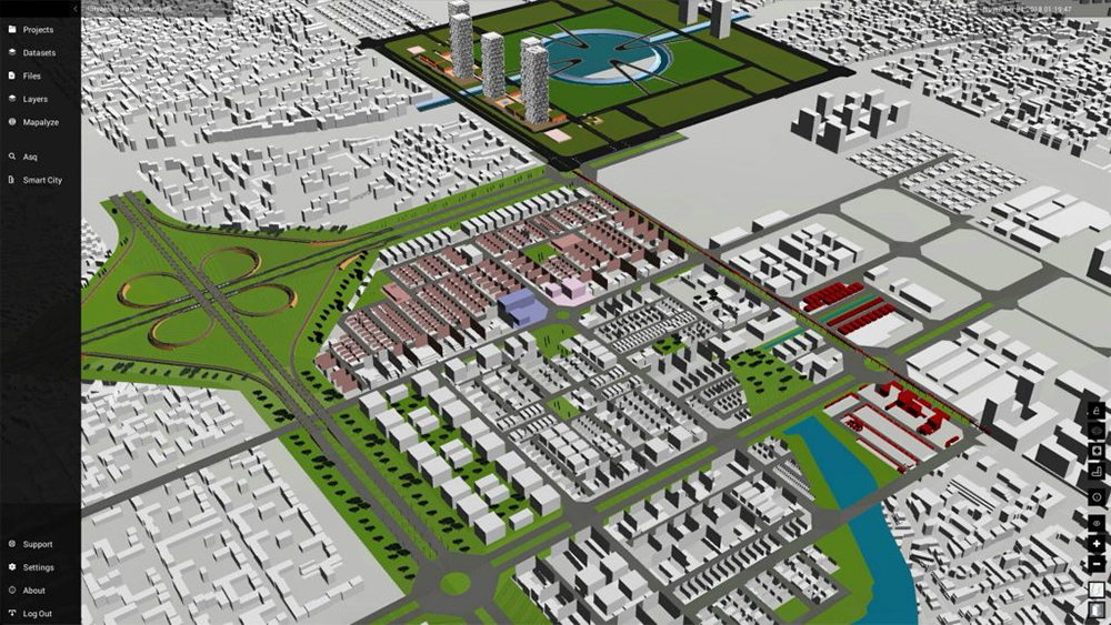 A digital model simulated city appears in a screenshot with a toolbar at left